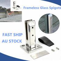 1 SET Stainless Steel Spigots Frameless Glass Pool Balustrade Fence Clamp Post!!