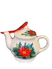Adorable Ceramic Red Poinsettia Christmas Tree Ornament