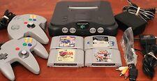 Nintendo N64 Bundle W/ 2 Controllers & 4 Games - Zelda, Perfect Dark, tetris