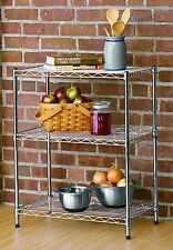 3 Tier Stackable Wire Storage Rack – Chrome Color