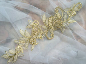 Gold Bridal Lace Applique Embroidery Wedding Dress Motif Floral DIY Trim 1 Pair