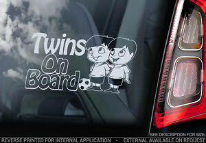 TWINS on Board, Car Window Sticker Brothers Boys Child Cartoon Decal - V01