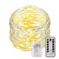 Micro Draht Lichterkette mit Fernbedienung und Timer - 10M 100 LED warmweiß Dy