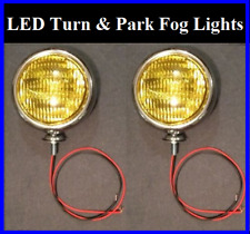 "Led Turn Signal Running Park Lights 5"" Amber Glass Fog Chrome Universal 12v 2 (Fits: More than one vehicle)"
