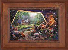 Thomas Kinkade Snow White and the Seven Dwarfs 18 x 27 S/N Canvas (Rustic Frame)