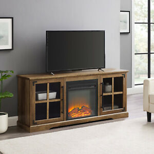 Dougan TV Stand w Plug In Electric Fireplace Simple Elegance Storage Shelves 65""