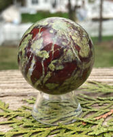 148g NATURAL AUSTRALIAN DRAGON BLOOD STONE CRYSTAL HEALING SPHERE Reiki Charged