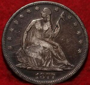 1877  Philadelphia Mint Silver Seated Half Dollar