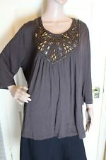 Savoir Size 20 Brown long sleeve top with beaded neck