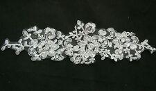Off White beads & sequins bridal wedding floral lace Applique motif 24.5x9.5cm