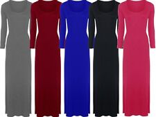 New Womens Plus Size Jersey Long Sleeve Maxi Dress Scoop Neck Stretch Maxi