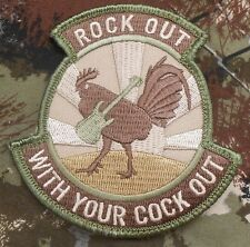 ROCK OUT WITH YOUR COCK OUT ARMY MORALE MILITARY TACTICAL MULTICAM HOOK PATCH