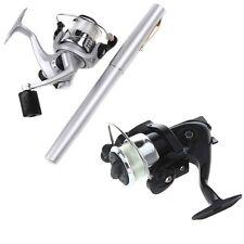 Mini Portable Pocket Fish Pen Shape Aluminum Alloy Fishing Rod Pole Reel Silver
