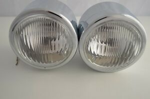 "4.5"" Twin Motorcycle Motorbike Headlight Chrome Steel Side Mount UK Retailer"