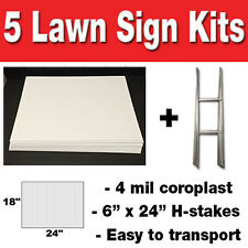 5 pack Blank Yard Signs 18x24 with H-stakes for Garage Sale Signs & Graduations
