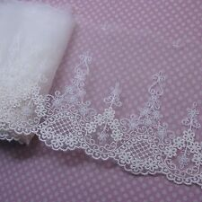 """Gorgeous Tulle Lace Embroidered Mesh Net  Trim Ivory 15cm(5.9"""") Wide 1yd"""