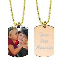 Custom Color Image on Stainless Steel Personalized Dog Tag Necklace