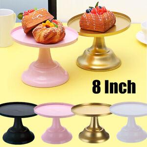 8Inch Mental Round Cake Stand Pedestal White Pink Dessert Holder Wedding Party