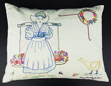 Embroidered Pillow Vtg 1991 Dutch Holland Girl Goose Flowers Feather Pillow