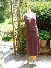 jolie robe longue marron sans manche féminine sexy 42/44 40 oversize !