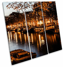 Amsterdam City Canal Night TREBLE CANVAS WALL ART Square Print Picture