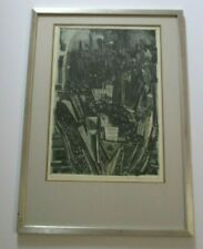 NOEMI SMILANSKY ETCHING NEW YORK MOMA POLAND ISRAEL MODERNIST ABSTRACT CITY RARE