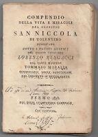 COMPENDIO DELLE VITA E MIRACOLI DI SAN NICOLA DI TOLENTINO-TOMMASO MORALLA-1818