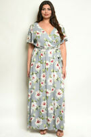Womens Plus Size Gray Floral Maxi Dress 3X Short Sleeve V-Neck