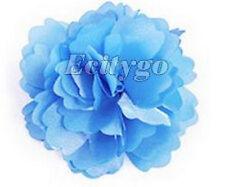 Party Wedding? Blue Satin Peony Fabric Flower Hair Clip Hair Pins & Brooch Gift