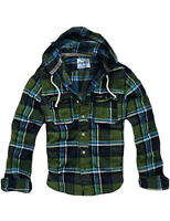 SHIP FROM USA! MENS CALI MUSCLE FIT HOODED CHECK FLANNEL SHIRT GREEN 9831133