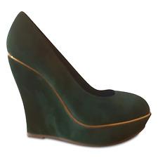 Plataforma de cuña de ante verde esmeralda Tribunal Fiesta Zapato con adorno de oro