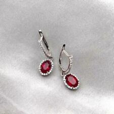 Delicate 4Ct Oval Red Ruby Halo Drop & Dangle Earrings 14K White Gold Finish