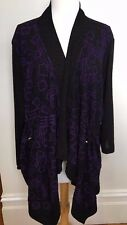 TAKING SHAPE TS14+ Black Purple Drape Geometric Texture Long Sleeve Jacket Top L