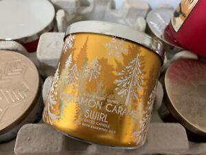 BATH & BODY WORKS CINNAMON CARAMEL SWIRL 3 WICK CANDLE 14.5 oz