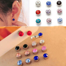 12 Pairs Mixed Color 7mm Crystal Magnetic Stud Earrings for Kids Girl Women