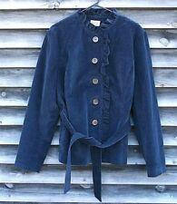 L.L. Bean Women's Corduroy Blazer w/ Belt Size 18 Regular Ruffled Collar Navy