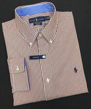 Ralph Lauren Mens long sleeve 100% cotton stretch shirt brown/white stripe