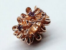 s Bd092 Large Genuine 9ct Rose Gold Natural Amethyst Blossom Garland Bead Charm