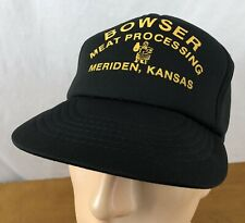 Vtg Bowser Meat Processing Meriden Kansas. Trucker Hat Snapback Cap Black