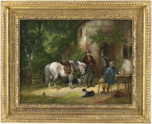 The Sportsman's Return Antique Oil Painting by Henry Thring Shayer (1825–1894)