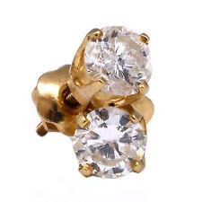 .80ct Round Cut Brilliant Diamond Stud Earring 14k Yellow Gold Screw Back