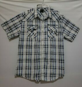 Men's 7 Diamonds Plaid Button Up Shirt Size XL Blue White Pearl Snap Western