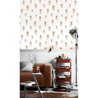 Little red flowers Removable wallpaper red and white Home Decor