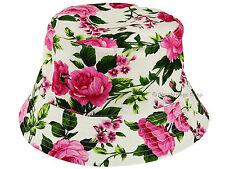 Hawkins Womens Ladies 100% Cotton Reversible Rose Print Bush Bucket Sun Hat Cap