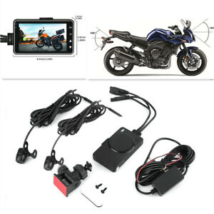 """Motorcycle 3""""LCD DVR Video Front/Rear Waterproof Dual Camera Recorder Camcorder"""