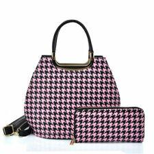 VK2130 PINK - Shell Set Bag With Houndstooth Design
