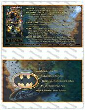 🎳 Data East Pinball Batman 1991 Version 2 Cartes Instructions Flipper Custom 🎳