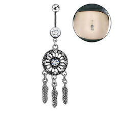 Bar Ring Dangle Body Piercing`Jewelry Feather Rhinestone Navel Ring Belly Button