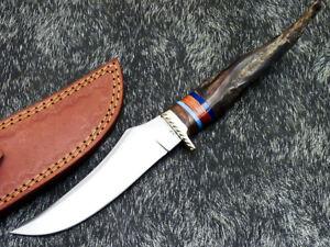 UNIQUE CUSTOM HANDMADE D2 STEEL BLADE HUNTING KNIFE - RAM HORN HANDLE - WD-3526