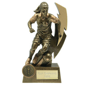 FEMALE Football Trophy 2 sizes Free Engraving up to 45 Letters A1855